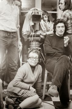"""Marguerite Duras & Sami Frey on the set of """"Jaune le soleil"""", France, by Etienne George. Night Of The Iguana, Marguerite Duras, Cinema Theatre, Peter Lindbergh, Famous Couples, Famous Artists, Film Movie, Behind The Scenes, Author"""