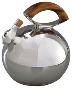 Made of durable stainless steelBoth sturdy and functional handle, easy to holdFeatures a timeless designDesigned by Lou HenryHand wash recommended Nambé Bulbo Kettle, Stainless Steel and Wood