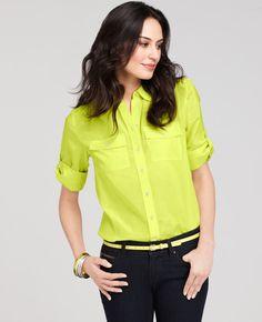 Ann Taylor - AT Blouses & Tops - Silk Cotton Camp Shirt