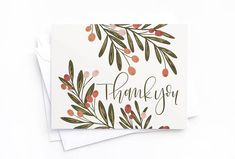 Thank You Card Set of 8 Illustrated Floral Thank You Cards Cute Cards, Diy Cards, Your Cards, Watercolor Birthday Cards, Watercolor Cards, Watercolour, Calligraphy Cards, Calligraphy Birthday Card, Calligraphy Thank You