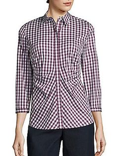 Lafayette 148 New York Pleated Button-Front Shirtink