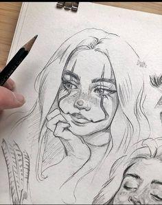 Dark Art Drawings, Realistic Drawings, Pencil Drawings Of Girls, Girl Drawing Sketches, Art Drawings Sketches Simple, Drawing Ideas, Art Diary, Cartoon Art Styles, Art Sketchbook