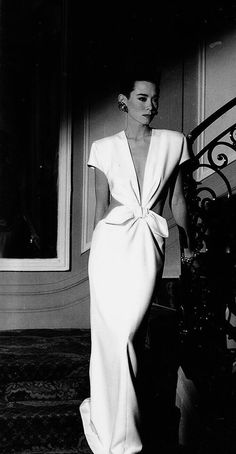 3556a75f3f96c Tina Chow in Yves Saint Laurent vintage couture fashion white gown dress  long cut out back sides short sleeves padded shoulders retro style jαɢlαdy