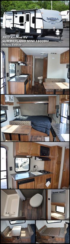 This KEYSTONE RV SPRINGDALE SUMMERLAND SERIES MINI 1800BH is perfect for the campers who need greater sleeping space in a smaller unit. This trailer offers a bunk, giving it the combined sleeping area to fit up to 6 people. Love the view from the large size picture window while enjoying your meal at the booth dinette. This RV is perfect for families!