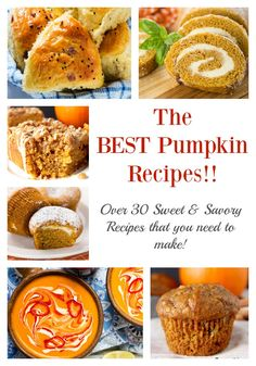 The Best Pumpkin Recipes- over 30 sweet and savory pumpkin recipes that you need to make! Perfect for Thanksgiving!!