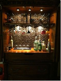 15 Best Armoire Bar Ideas Ever – Modern Home Armoire Bar, Home Bar Cabinet, Bar Hutch, Liquor Cabinet, Bar Furniture, Refurbished Furniture, Repurposed Furniture, Furniture Makeover, Office Furniture