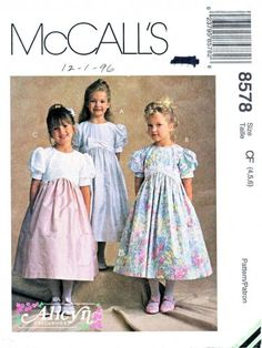 McCalls Sewing Pattern 8578 Girls Size 4-6 Alicyn Party Dresses Gathered Skirts Puffy Sleeves