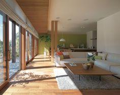 外との一体感「真壁連続開口」 イメージ Japanese Modern House, Japanese Living Rooms, Japanese Home Design, Japanese Interior, Interior Exterior, Interior Architecture, Interior Design, Bedroom Minimalist, Minimalist House