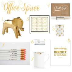 Adorable white and gold office accessories on - Ooh La Lexi -