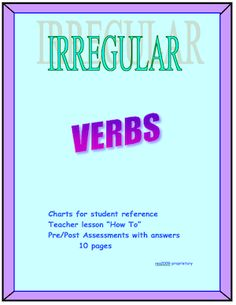 One of my best sellers! Aligned with the Common Core. This 12 page packet includes lessons of how to teach irregular and participle forms of verbs as well as worksheets that can be used as classwork, homework or as assessments. Two charts of irregular Teaching English Grammar, Grammar Skills, Speech And Language, Language Arts, English Language, Common And Proper Nouns, Teacher Forms, Teacher Workshops, Cool Writing