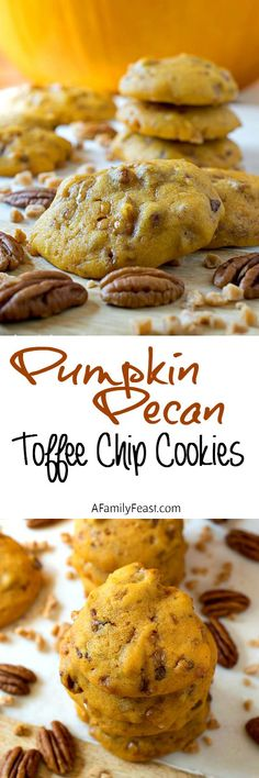 Pumpkin Pecan Toffee Chip Cookies - Soft, moist and cake-like cookies loaded with pecans and toffee bits! Incredible!