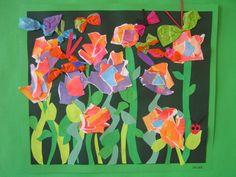 torn paper garden with butterflies