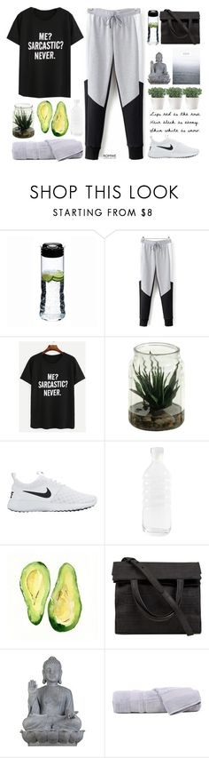 """#ROMWE"" by credendovides ❤ liked on Polyvore featuring Riedel, NIKE, canvas, Alexander Wang, Universal Lighting and Decor and Hamam"