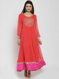 Indian Dress Anarkali Kurta For Women Ethnic Wear Pure Cotton Pink Printed Tiered Anarkali Kurti Gotta Patti Anarkali Kurtis Women