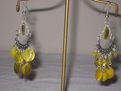 yellow shell chandelier earrings hand made #hanHandmade #Chandelier