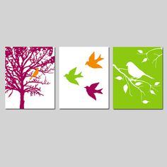 Modern Bird Trio  Set of Three 8x10 Prints  Modern by Tessyla, $55.00