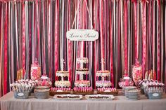 Fabulous sweets buffet via Style Me Pretty! @Dessert & Wedding Darling. Oh ~ and if you want the details of whats what ... check out Jennys post: DessertDarling.co...