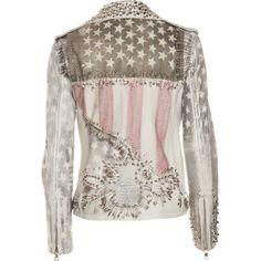 Balmain Studded Flag Jacket - White size 40 ($8,179) ❤ liked on Polyvore featuring outerwear, jackets, tops, coats, women, biker jacket, patchwork jacket, white zip jacket, white moto jacket and white studded jacket