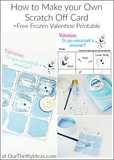 How to Make Your Own Scratch Off Card Plus a Free Frozen Valentine Printable for the kids! Easy Diy Crafts, Diy Craft Projects, Craft Tutorials, Fun Crafts, Crafts For Kids, Projects To Try, Diy Snowman, Build A Snowman, Scratch Off Cards