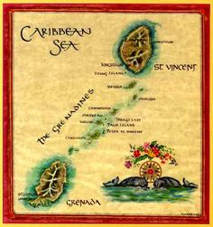 Map of St. Vincent and the Grenadine Islands  including Grenada and Carriacou