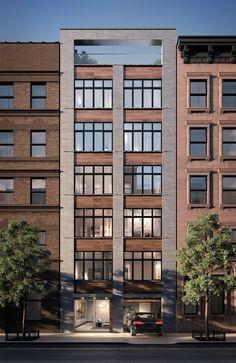 in Midtown West : Sales, Rentals, Floorplans Brick Facade, Facade House, Brick Building, Building A House, Narrow House Designs, Modern Condo, Townhouse Designs, Building Renovation, Brick Architecture
