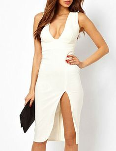 #fashion #accessories Sexy Bodycon Deep V-Neck Pure Color Dress with Slit Trim   White by Moda Tendone - Sexy Dress Clothes, Fashionable, Sexy Dress, White, Women