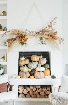 5 Creative Tips: Natural Home Decor Earth Tones Colour Palettes natural home decor living room woods.Natural Home Decor Feng Shui House Plants simple natural home decor window.Natural Home Decor Rustic House. Modern Fall Decor, Rustic Fall Decor, Fall Home Decor, Autumn Home, Diy Home Decor, Fall Fireplace Decor, Mantle, Fireplace Ideas, Thanksgiving Decorations