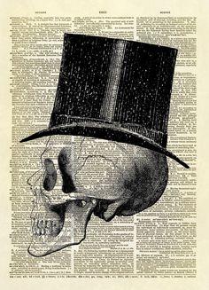 Halloween Human Skull with Top Hat Dictionary Art Print
