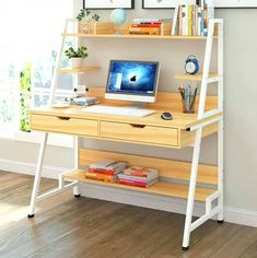 Modern Study Table with Hidden Book Shelves Double Drawers & Built-Up Shelves (Light Brown) Home Room Design, Home Office Design, Home Office Decor, Office Desk, Home Decor, Metal Furniture, Diy Furniture, Furniture Design, Office Furniture