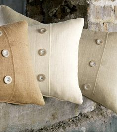 Rustic Burlap Decorative Pillows with buttons.  http://www.jbrulee.com/pd-burlap-decorative-pillows-and-bedding-shams.cfm
