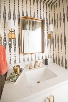 Home Decorating DIY Projects : 10 Beautiful Ideas for How to Use Wallpaper in Modern Home Design, bathroom wallpaper ideas, Schumacher fern tree wallpaper, blac Modern Bathrooms Interior, Modern Bathroom Decor, Bathroom Styling, Small Bathroom, Design Bathroom, Bathroom Ideas, Downstairs Bathroom, Relaxing Bathroom, Rv Bathroom