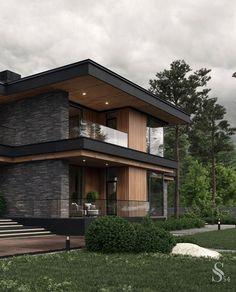 Modern House Facades, Modern Architecture House, Modern House Design, Architecture Design, Architecture Portfolio, Asian House, Prairie Style Houses, Dream House Exterior, Dream Home Design