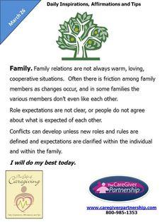 March 26 Daily Caregiver Affirmation:  Family #caregiver #caregiving