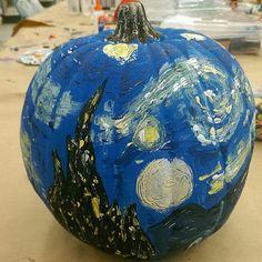 Starry night pumpkin van gogh halloween