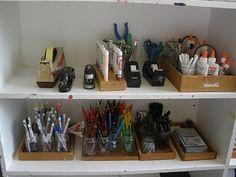 Organize art supplies the preschool way