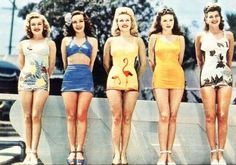 1950s Swimsuits, Love all of these 1950s swimsuits, especially the flamingo print.