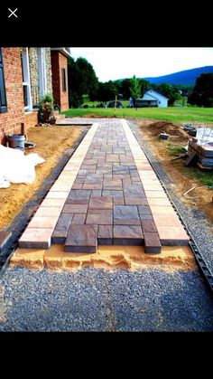 Pergola and/or fire pit walkway Stone Walkways, Concrete Driveways, Paving Stones, Flagstone Patio, Brick Walkway, Brick Path, Brick And Stone, Patio Stone, Dry Stone