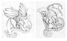 Red panda and Hyena-dragon sketches by hontor.deviantart.com on @deviantART