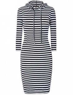 Stripe Dress With Hoodie
