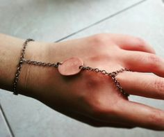 Jewels. Chain ring/bracelet with copper and polymer clay