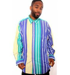 Vintage Nautica Wide Stripe Multi Colour Sailing Shirt - Ralph Lauren/Tommy Hilfiger - Gents