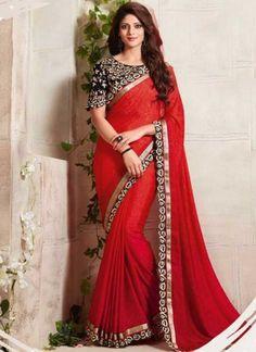 Red Black Embroidery Cut Work Fancy Fabric Designer Sarees http://www.angelnx.com/Sarees/Designer-Sarees
