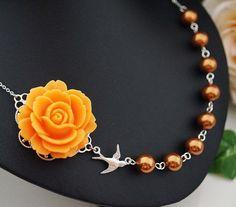 Orange Rose flower with bird charm bridesmaid necklace from EarringsNation Orange weddings