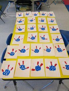 Kindergarten Art - American Flag handprints