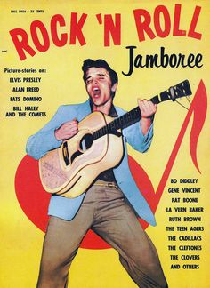 Rock 'n Roll Jamboree, Picture-stories on : Elvis Presley, Alan Freed, Fats Domino, Bill Haley and The Comets, Bo Diddley, Gene Vincent, Pat Boone, La Vern Baker, Ruth Brown, The Teen Agers, The Cadillacs, The Cleftones, The Clovers and others, fall 1956.