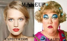 makeup: expectation/reality (image by me) ∞ Performance Marketing, Haha, Expectation Reality, I Love To Laugh, Laughing So Hard, Just For Laughs, Diy Beauty, Hilarious, Funny Memes