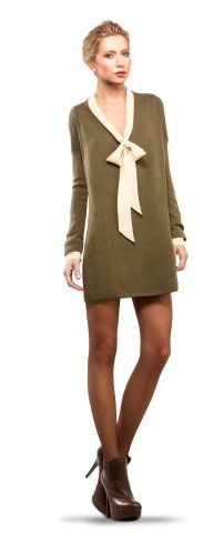 MAXSTUDIO OVERSIZE V-NECK SWEATER DRESS $78.00