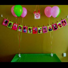 Pink and green photo banner for 1st birthday