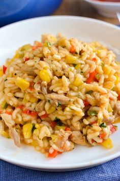 Slimming Slimming Eats Chicken, Red Pepper and Sweetcorn Risotto - gluten free, dairy free, Slimming World and Weight Watchers friendly Chicken And Sweetcorn Soup, Chicken Risotto, Chicken Lasagna, Slimming Eats, Slimming World Recipes, Filet Mignon Chorizo, Cooking Recipes, Healthy Recipes, Budget Cooking