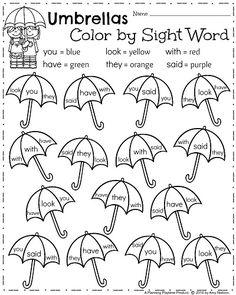 Kindergarten ELA Worksheets for Spring - April Color by Sight Words Umbrellas